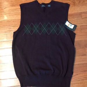Men's Sweater Vest Izod Sz S Purple 100% Cotton